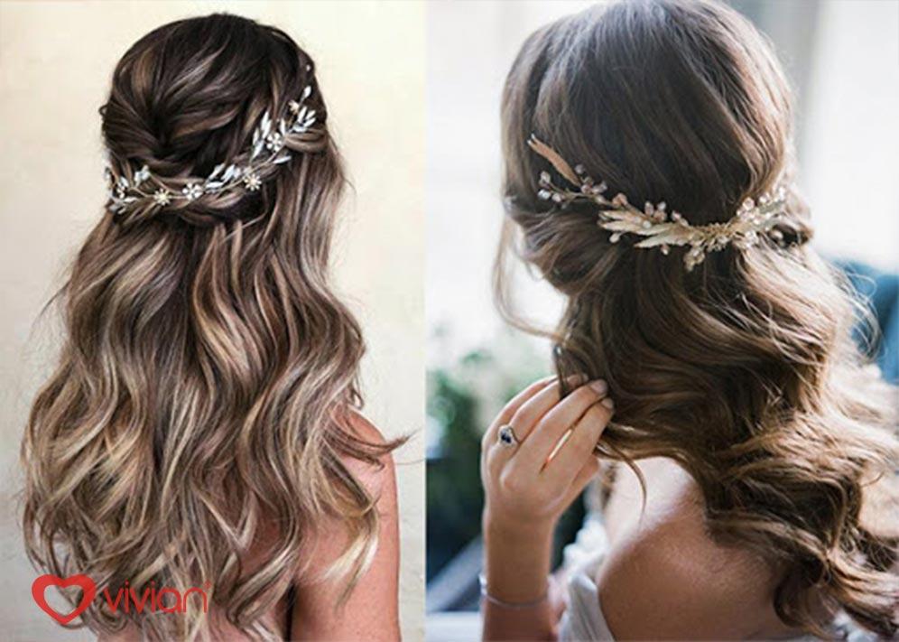 Kiểu tóc buộc nửa đầu cho cô dâu