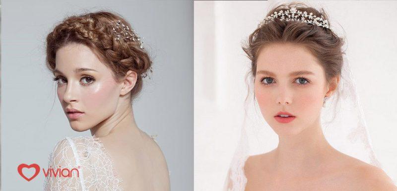 Kiểu tóc tết mái cho cô dâu xinh xắn