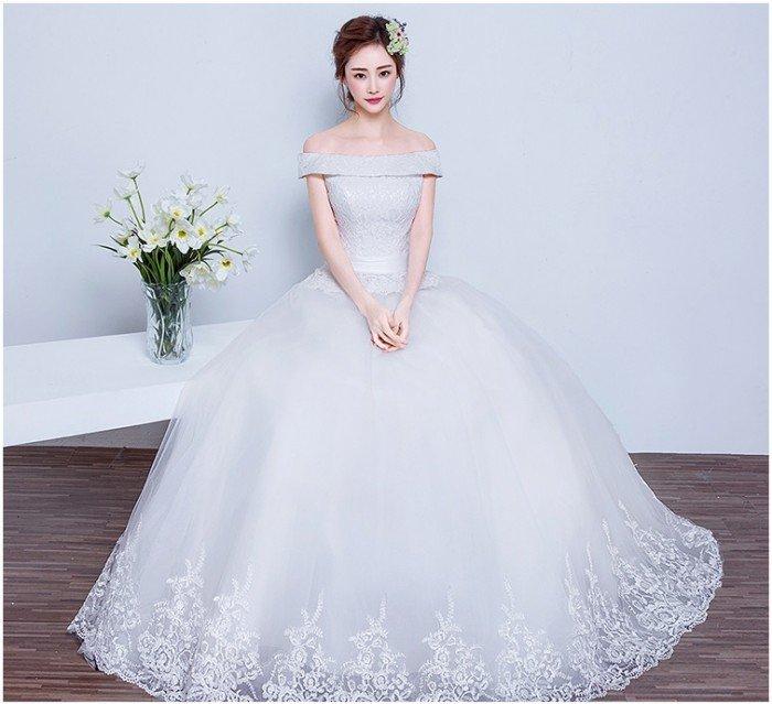 Kiểu mẫu váy cưới trễ vai