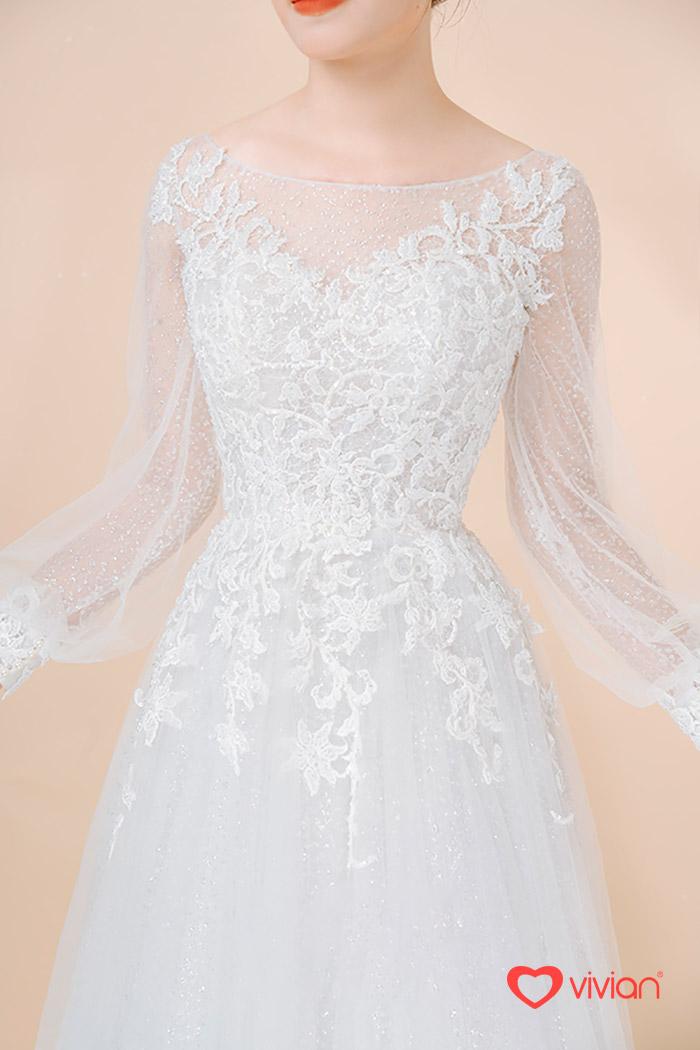 Váy cưới cổ thuyền xinh cho cô dâu gầy