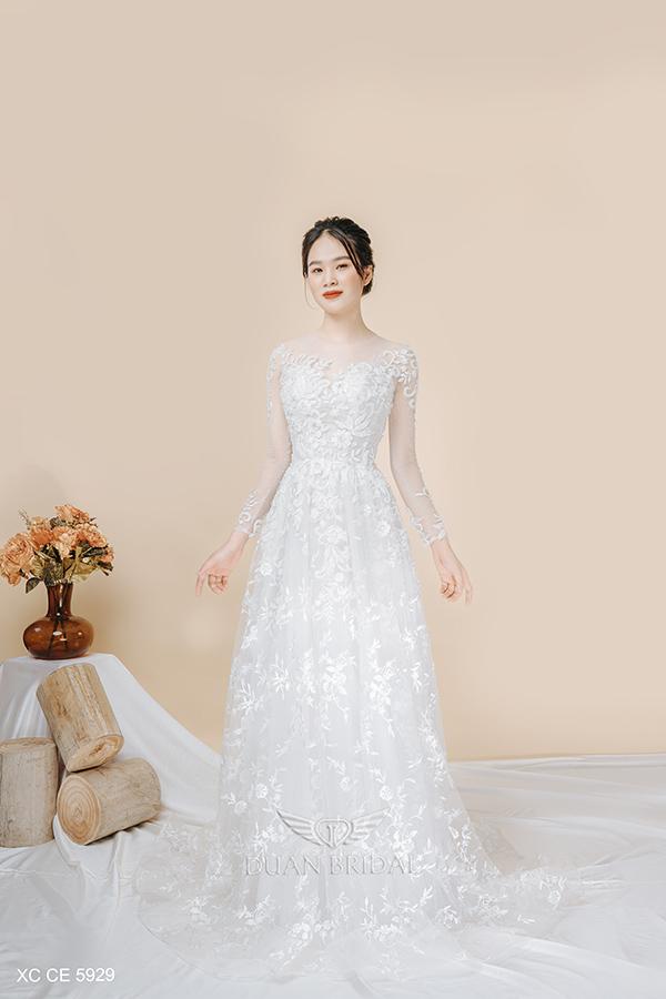 Váy cưới suông dài