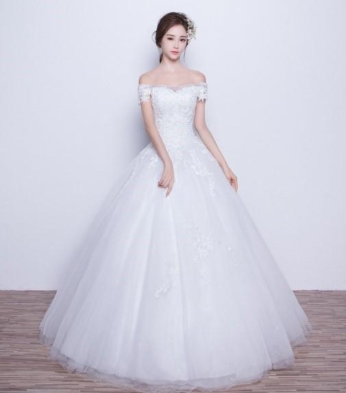 Váy xòe chữ A cho cô dâu thấp bé